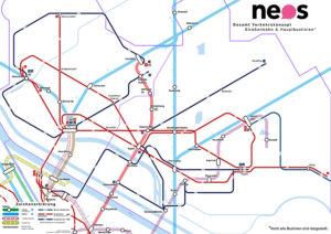 Netzplan der (neuen) Hauptverbindungen für Floridsdorf und die Donaustadt